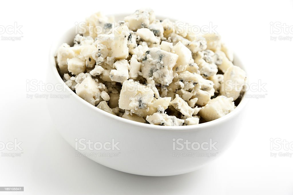 Crumbled gorgonzola cheese stock photo