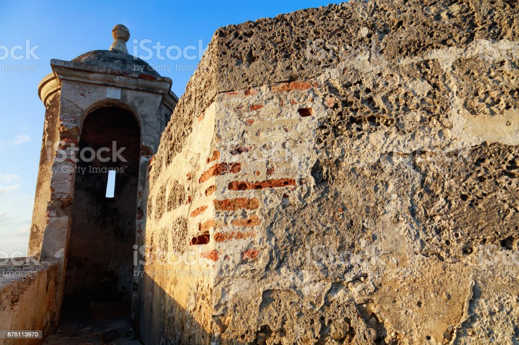 Crumbling Colonial Colombian Wall stock photo