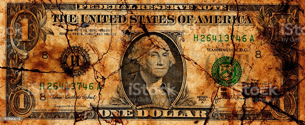 Crumbling U.S. Dollar royalty-free stock photo