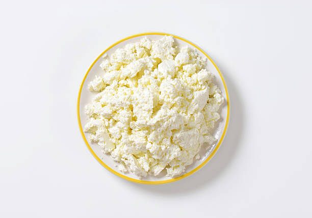 Crumbly white cheese stock photo