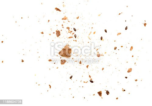 Crumbs isolated on white background