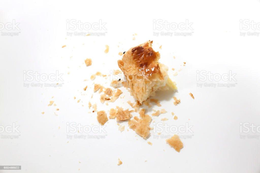 Crumbs of bread stock photo