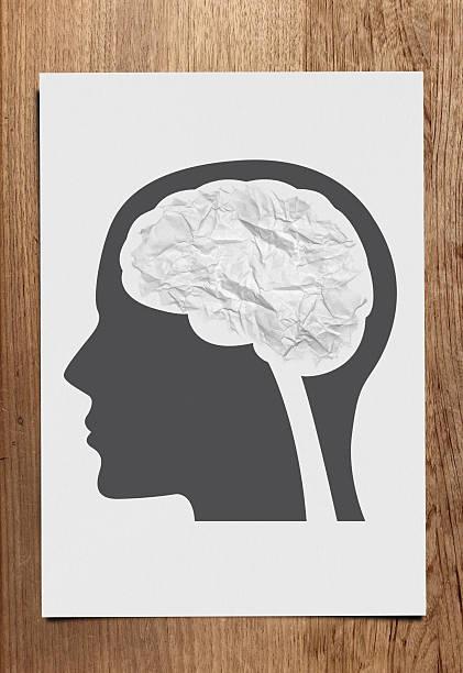 Crumple paper brain concept stock photo
