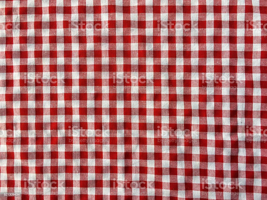 Crumple Texture Of A Red And White Checkered Picnic Blanket Stock