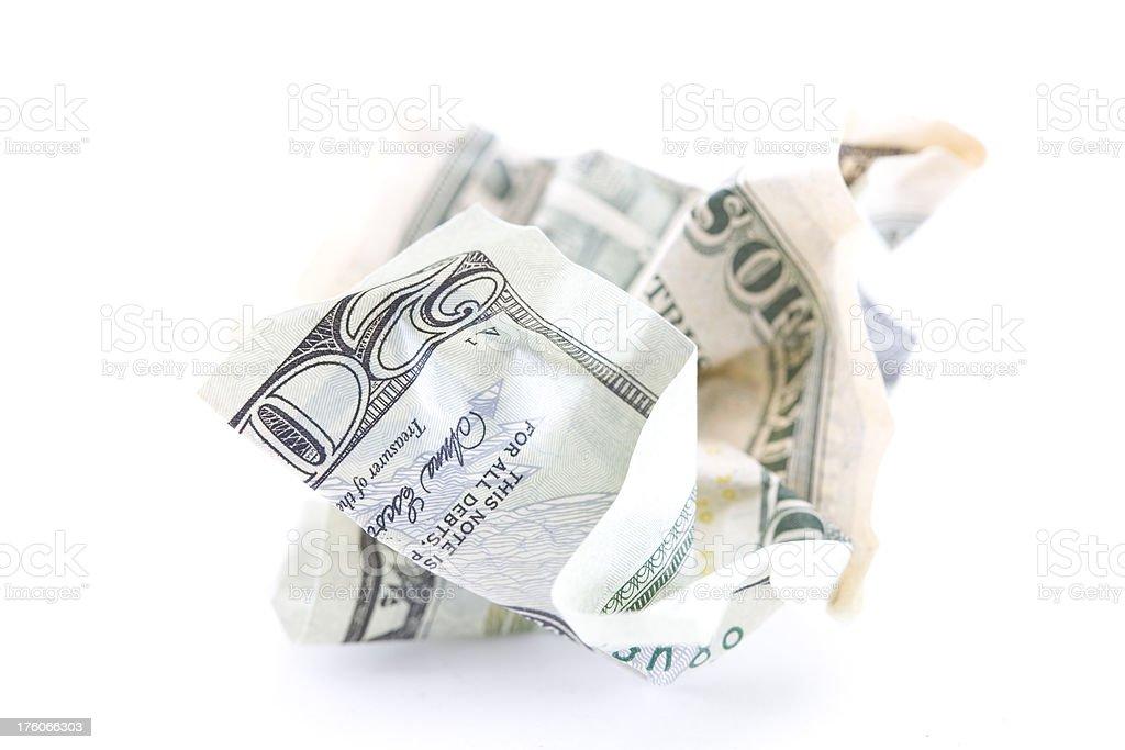 Crumpled $20 U.S. Bill Isolated on White stock photo