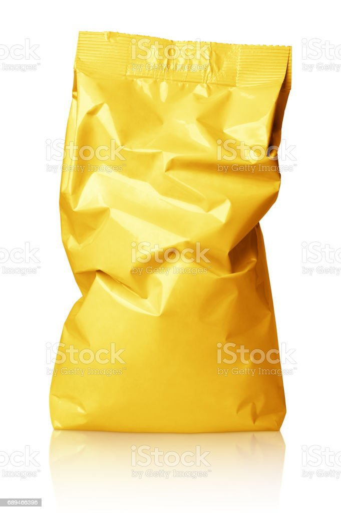 Crumpled blank golden foil bag package isolated on white stock photo