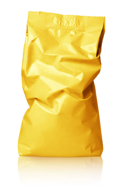 crumpled blank golden foil bag package isolated on white - crisp packet stock photos and pictures