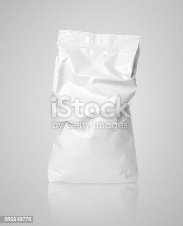 912671588istockphoto Crumpled blank paper bag package with creases on gray 589949276