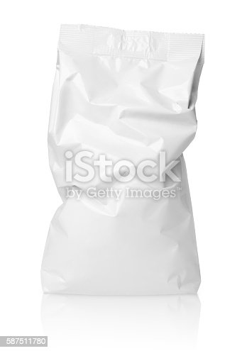 912671588istockphoto Crumpled blank paper bag package with creases on white 587511780