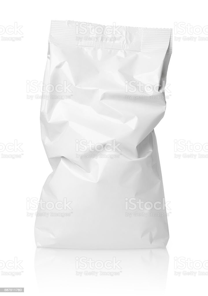 Crumpled blank paper bag package with creases on white stock photo
