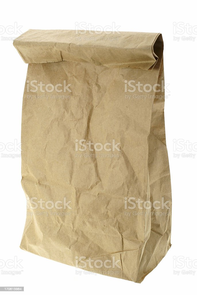 Crumpled Brown Paper Lunch Bag Closed, Isolated on White royalty-free stock photo