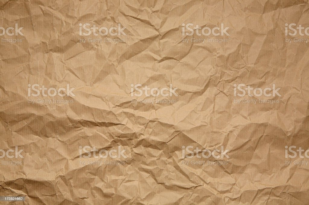 Crumpled brown paper pattern or background stock photo