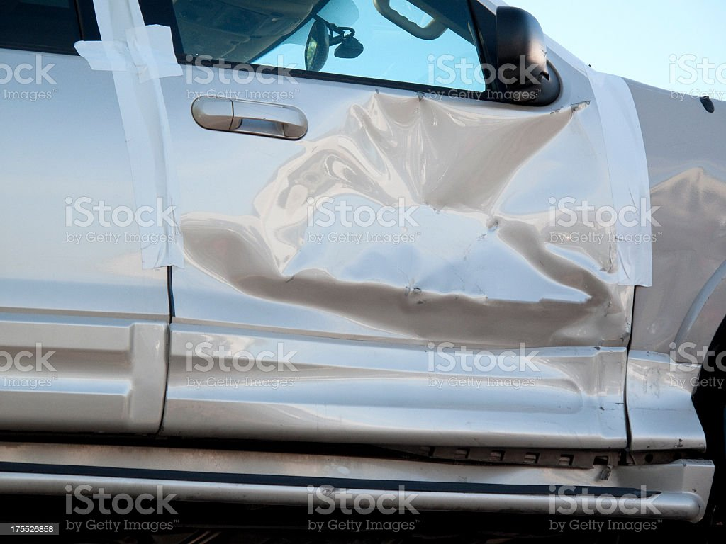 Crumpled Car Door stock photo