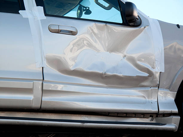 crumpled car door - dent stock pictures, royalty-free photos & images