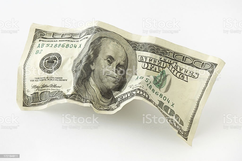 Crumpled Currency stock photo