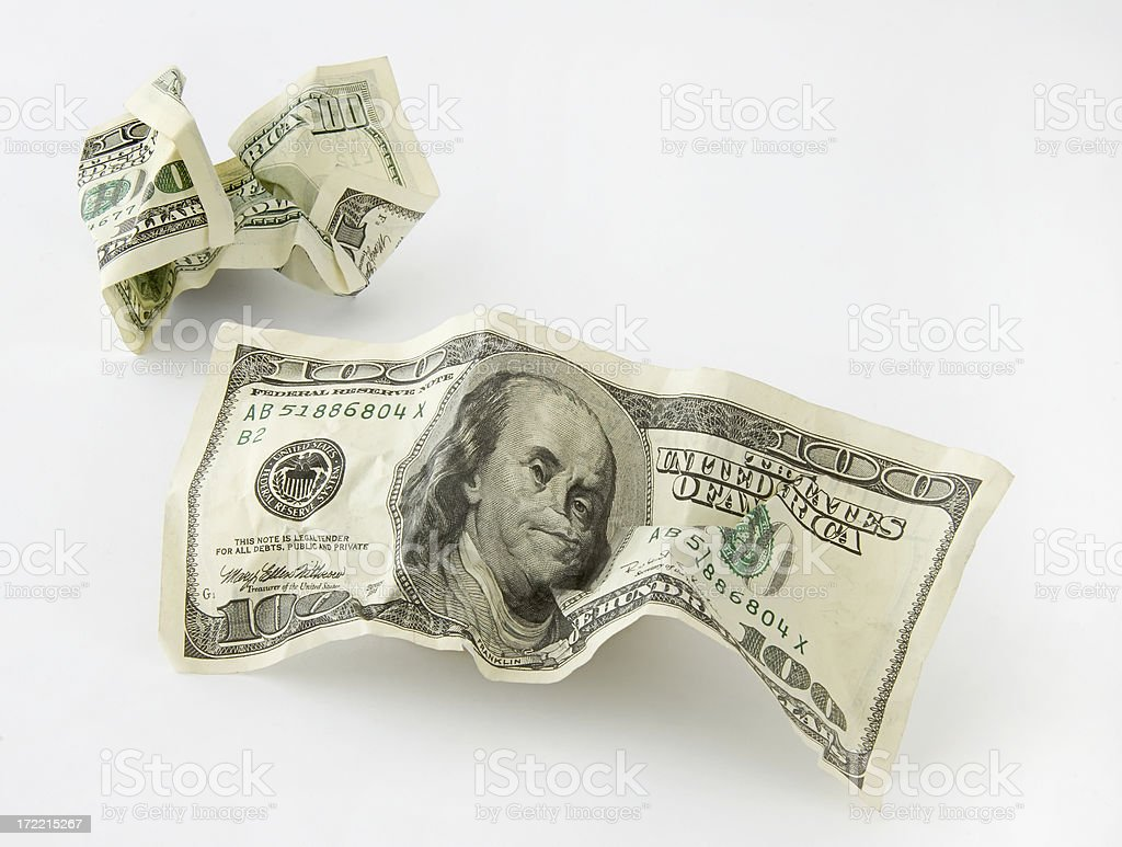 Crumpled Currency royalty-free stock photo