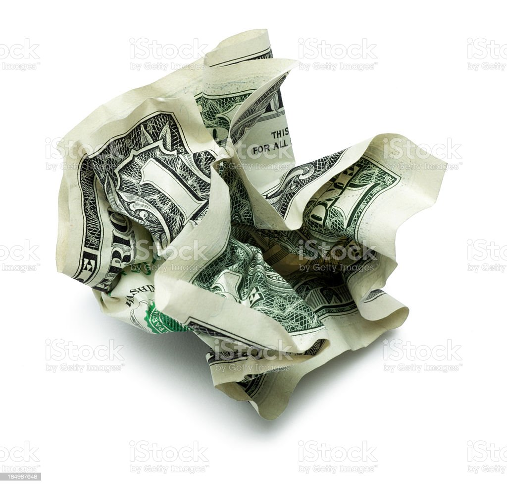 Crumpled Dollar Bill on White royalty-free stock photo