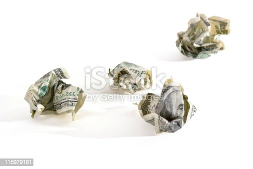 crumpled dollar's paper - symbol of SCAM