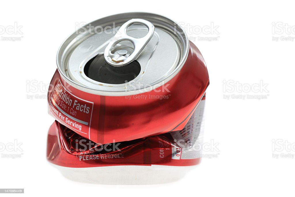 Crumpled Drink Can stock photo