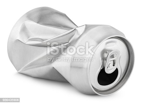 istock Crumpled empty soda or beer can isolated on white 936405906