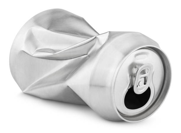 Crumpled empty soda or beer can isolated on white Crumpled empty blank soda or beer 330 ml can garbage isolated on white background with clipping path crushed stock pictures, royalty-free photos & images