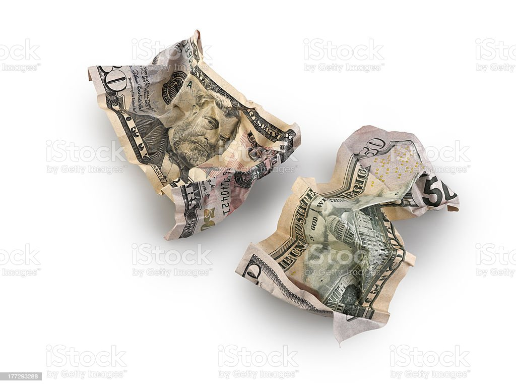 crumpled fifty dollar bill isolated royalty-free stock photo