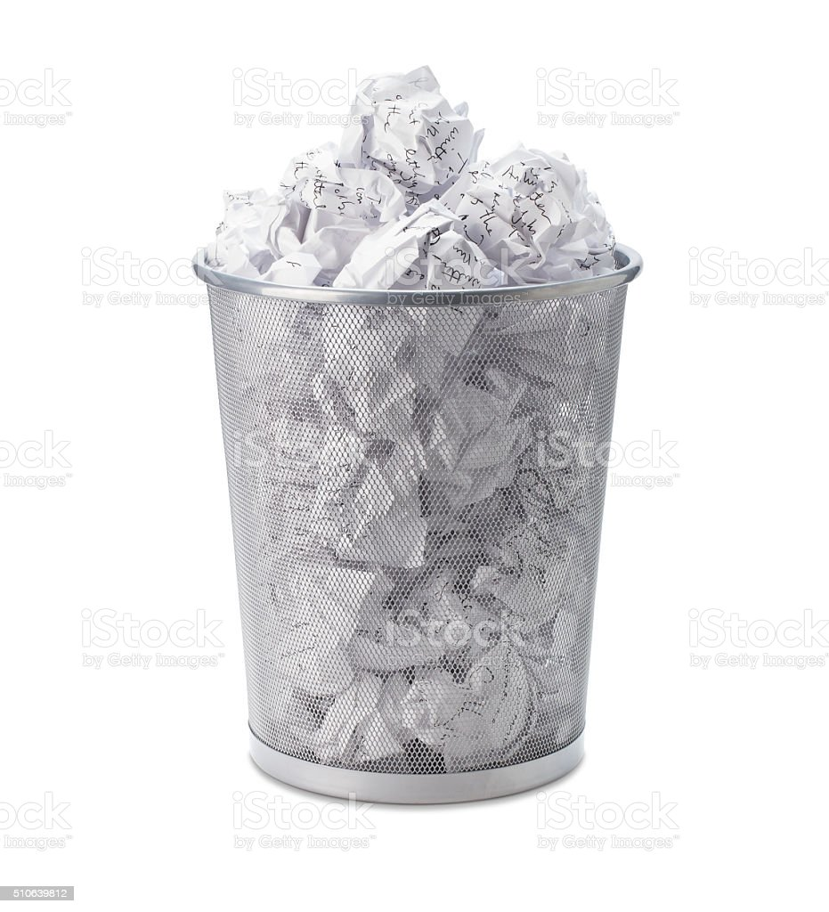 Crumpled, Garbage, Waste Paper Can Recycle In Office Trash Bin. Royalty Free