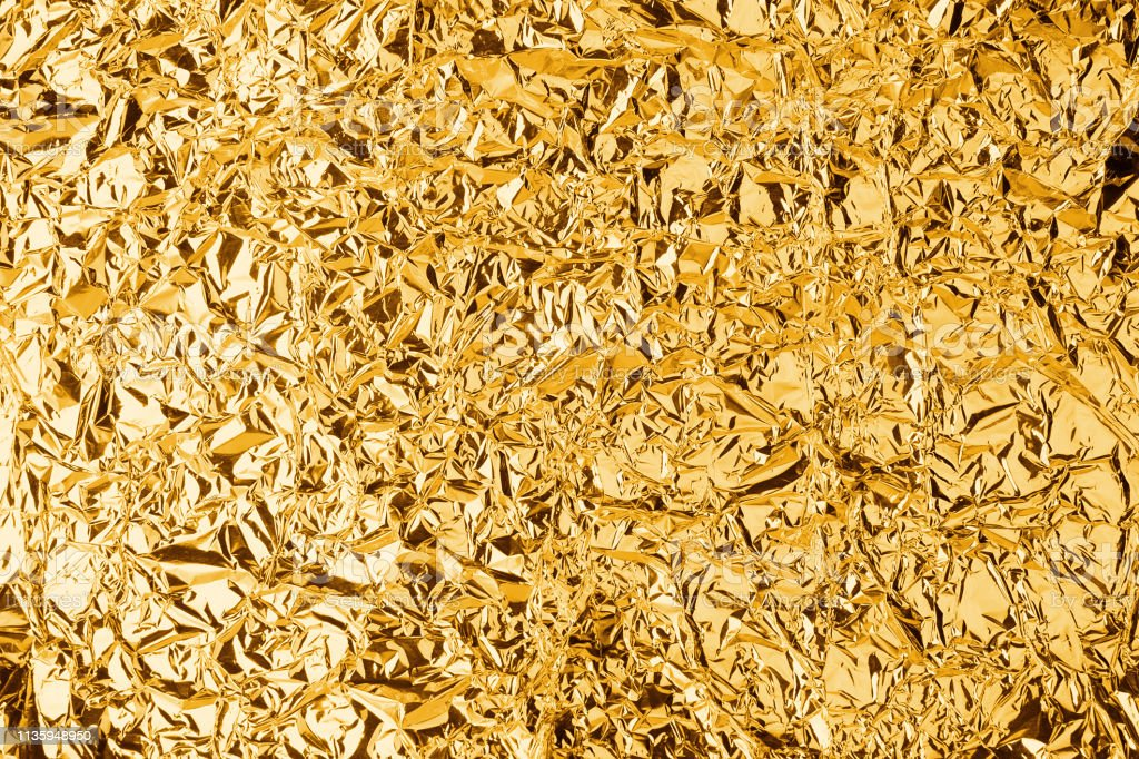 Crumpled Golden Foil Shining Texture Background Bright Shiny