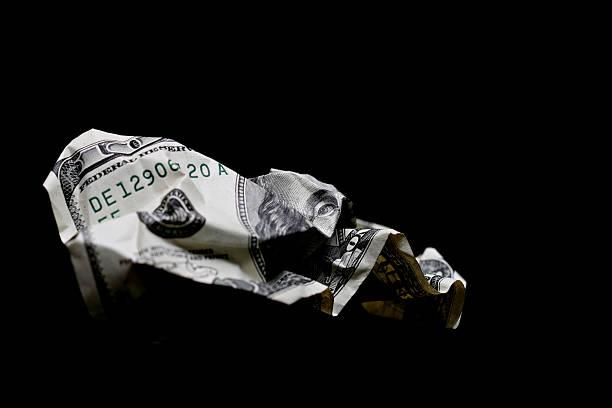 crumpled hundred dollar bill - dirty money bildbanksfoton och bilder