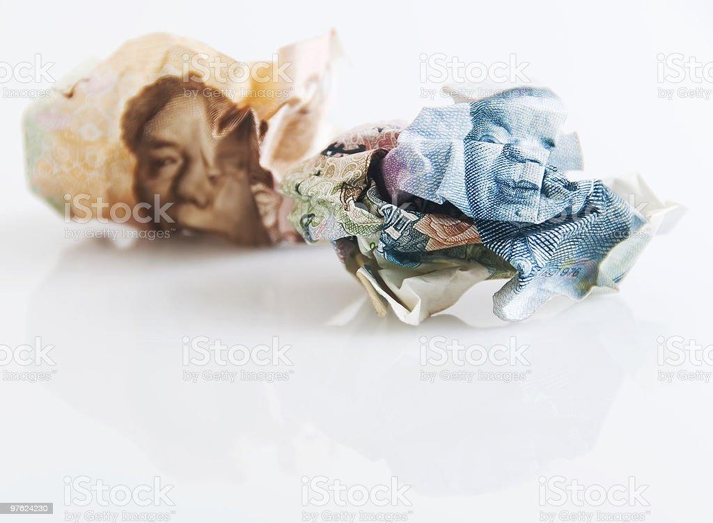 Crumpled Money royaltyfri bildbanksbilder