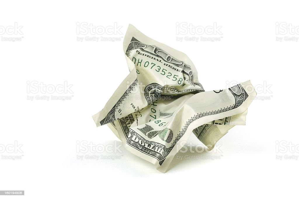 Crumpled Money with Clipping Path stock photo
