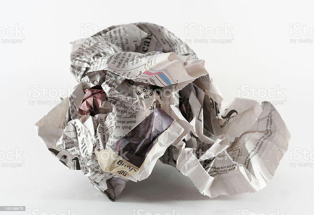 crumpled newspaper royalty-free stock photo