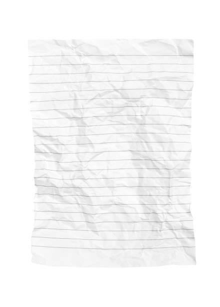 crumpled notepad sheet isolated on white. - folha de caderno imagens e fotografias de stock