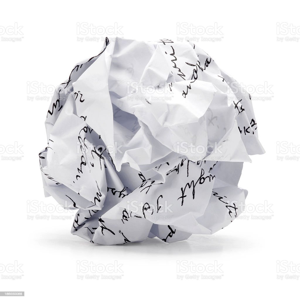 Crumpled of free hand script Junk paper in ball shape stock photo