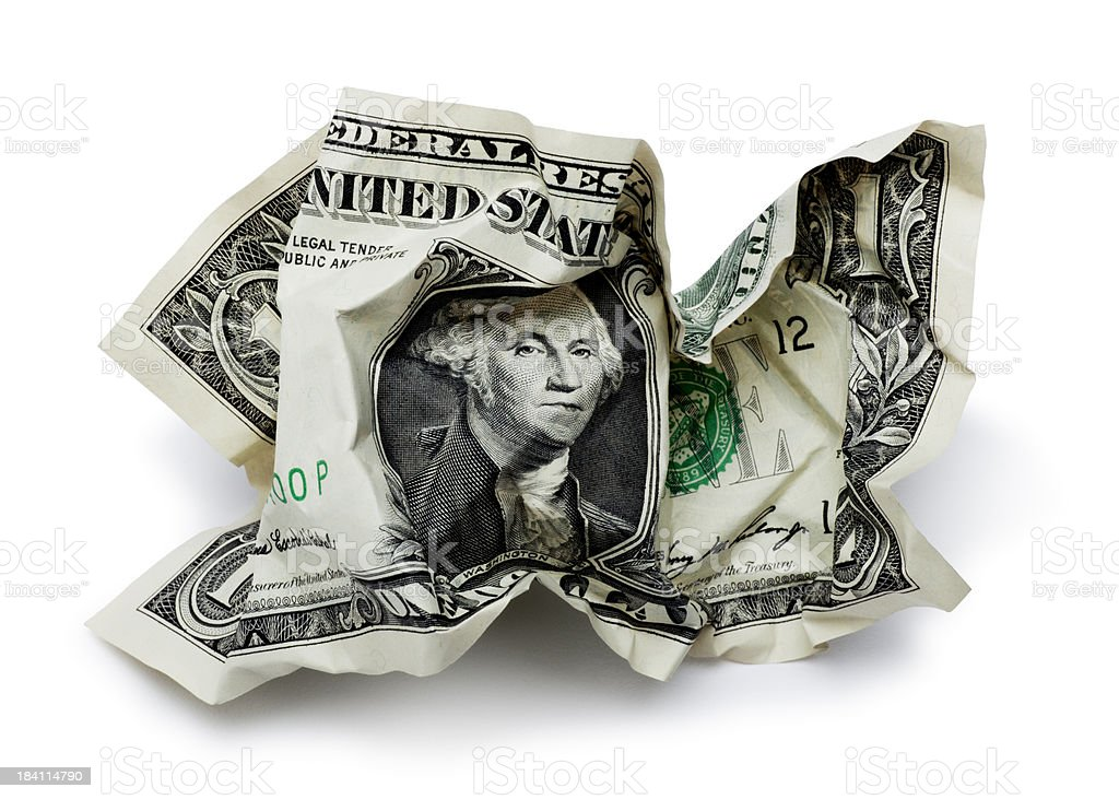 Crumpled One Dollar Bill royalty-free stock photo