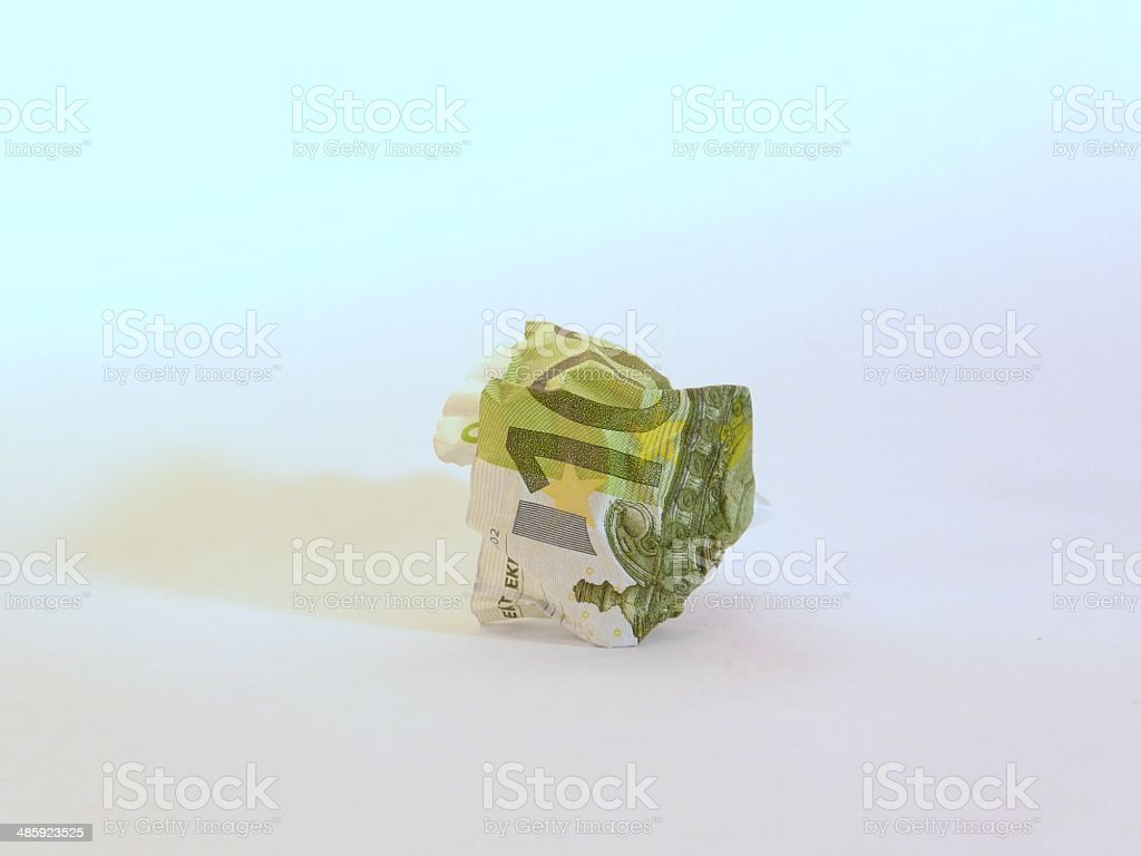 crumpled one hundred euro banknote stock photo