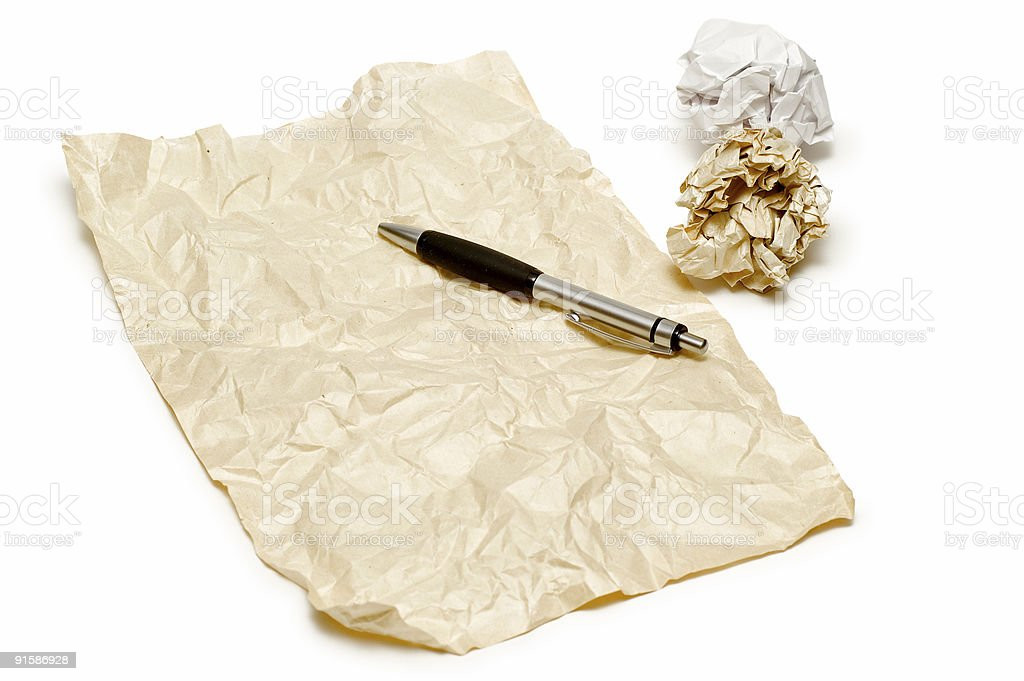 Crumpled Paper And Pen royalty-free stock photo