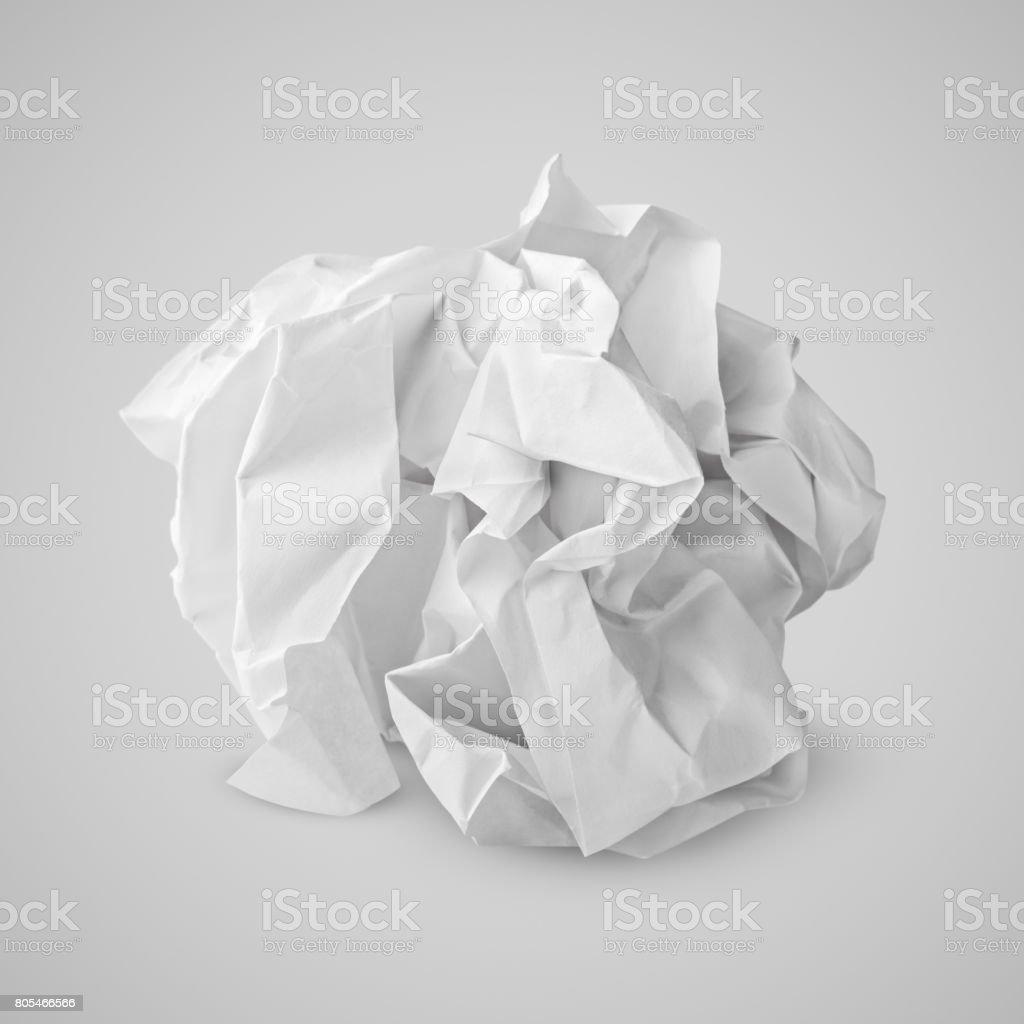 Boule de papier froissé sur gris - Photo