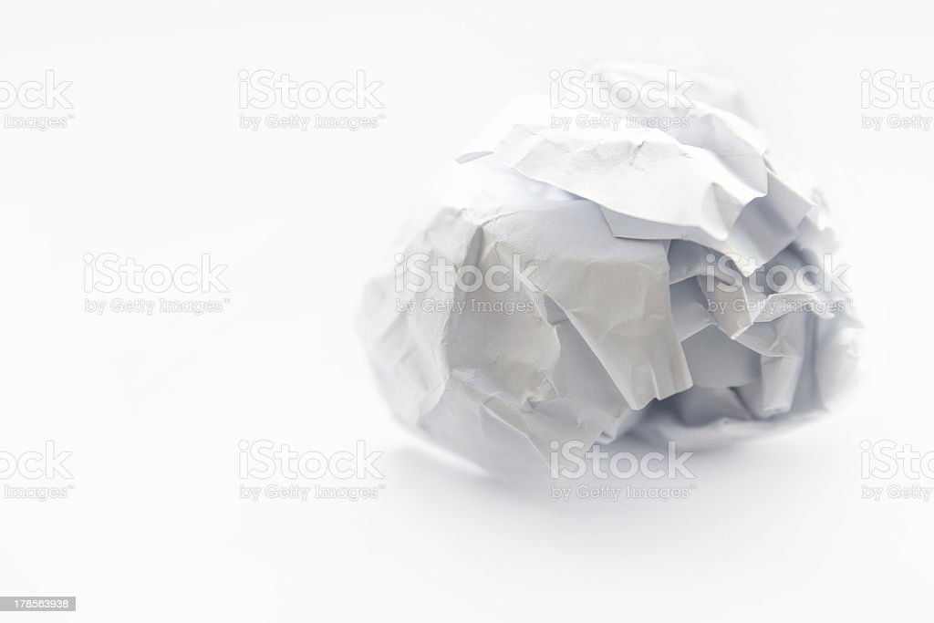 Crumpled paper ball. royalty-free stock photo