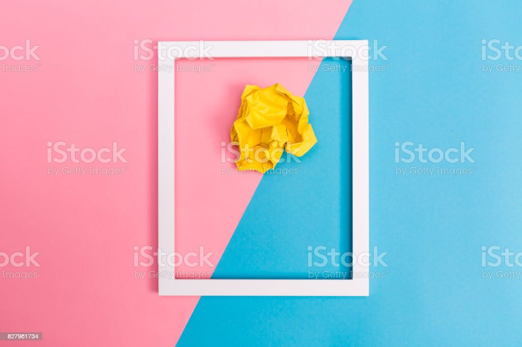 Crumpled paper ball with frame stock photo