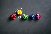 Crumpled paper balls on blackboard - Idea Concept Background