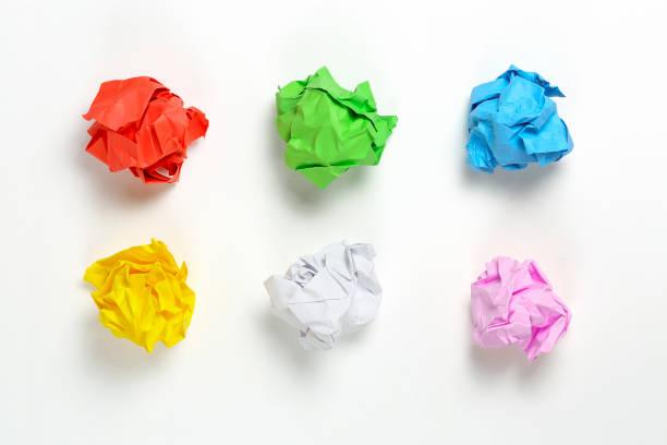 crumpled paper balls stock photo