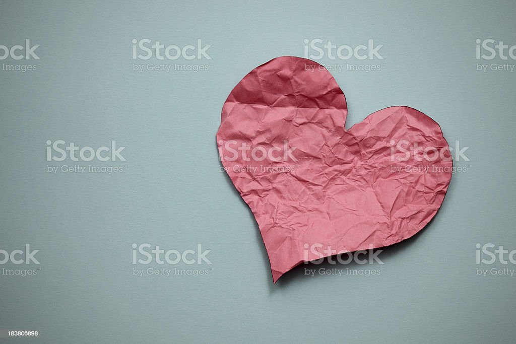 Crumpled paper heart royalty-free stock photo
