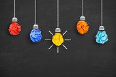 istock Crumpled Paper Light Bulb Idea Concept on Blackboard 614992782