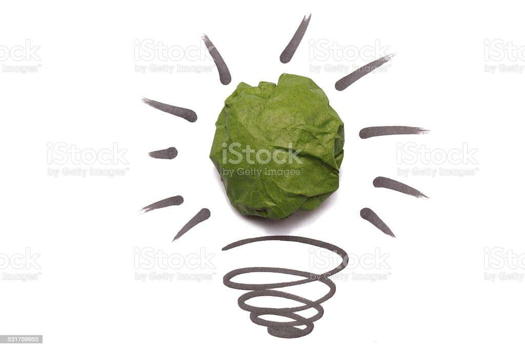 Crumpled Paper Light Bulb stock photo