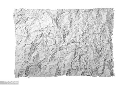 891131294istockphoto Crumpled paper on a white background. Isolated object 1172004018