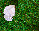 istock Crumpled paper on Green grass background 485575224