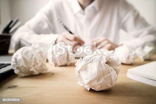 istock Crumpled papers and overwork 850858658