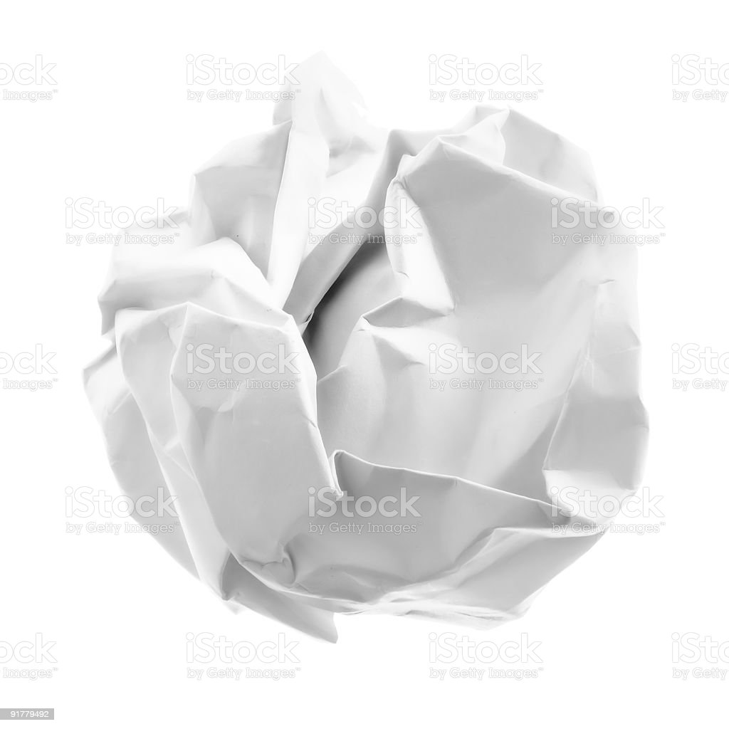 Crumpled piece of paper royalty-free stock photo