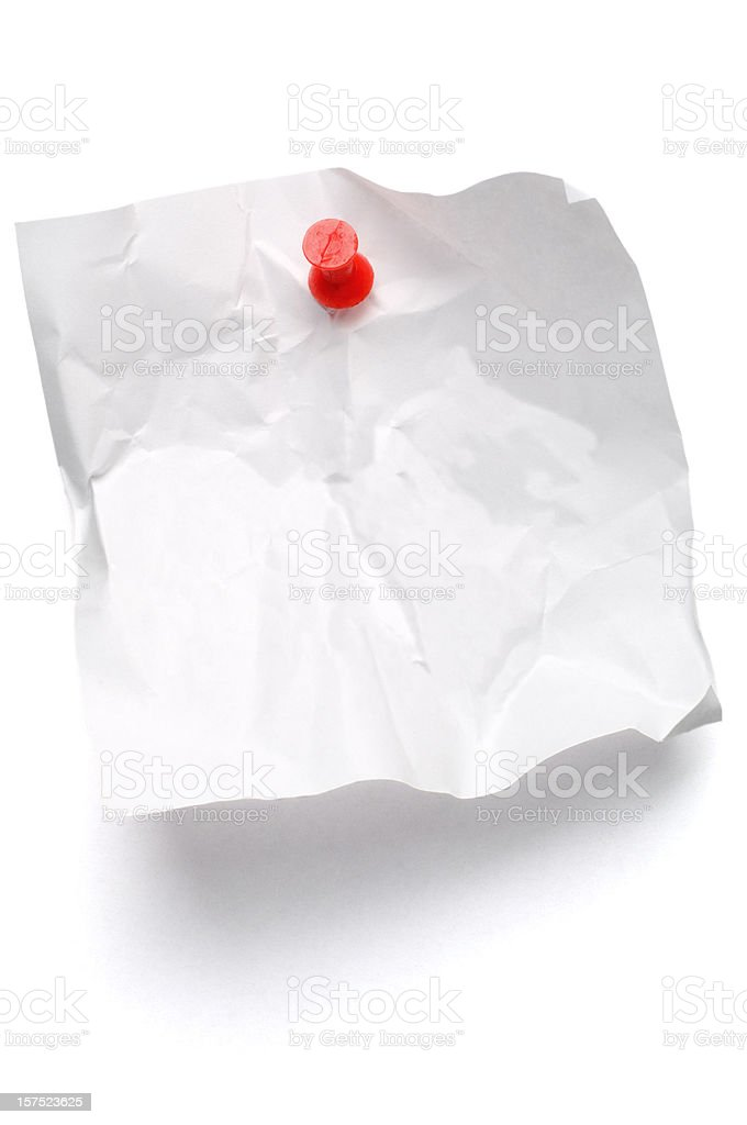 Crumpled Post-it Note on white royalty-free stock photo